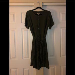 Army green LOFT plus shirt dress